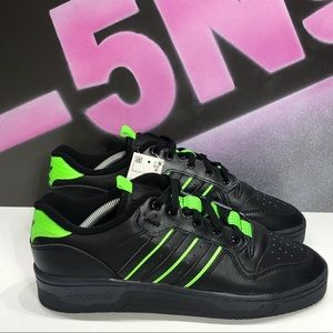 New Adidas Rivalry Low Black Neon Green